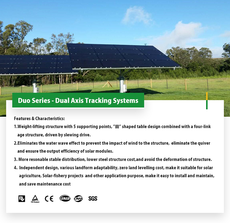 Dual axis solar tracking system